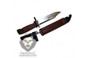"""ММГ Штык-ножа АК ШНС-001 Макет (для АК74), коричневые ножны и рукоятка, без пропила, в коллекционном исполнении """"Люкс"""""""