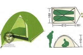 Палатка туристическая Remington 2-местная (210+50)*150*110, шт
