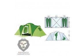 Палатка туристическая Remington 4-местная (140+210+140)*210*200, шт