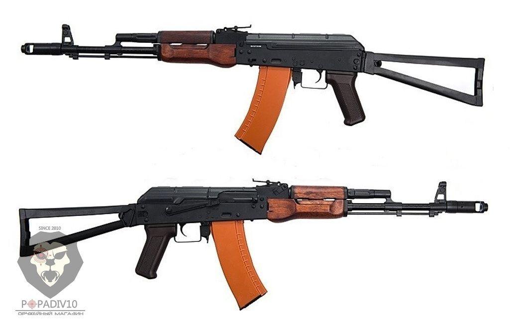 Макет автомата АК-74М (ММГ, Калашников, складной приклад металлическая рамка, деревянные цевье и накладка, бакелитовая рукоять)