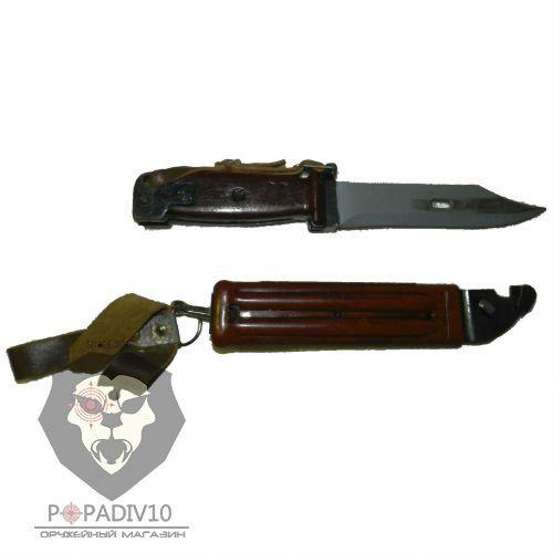 ММГ Штык-ножа НС - АК сб - 01 (Макет, Нож сувенирный 6Х4, коричневые ножны и рукоятка - прессматериал АГ-4, раритет, с пропилом)