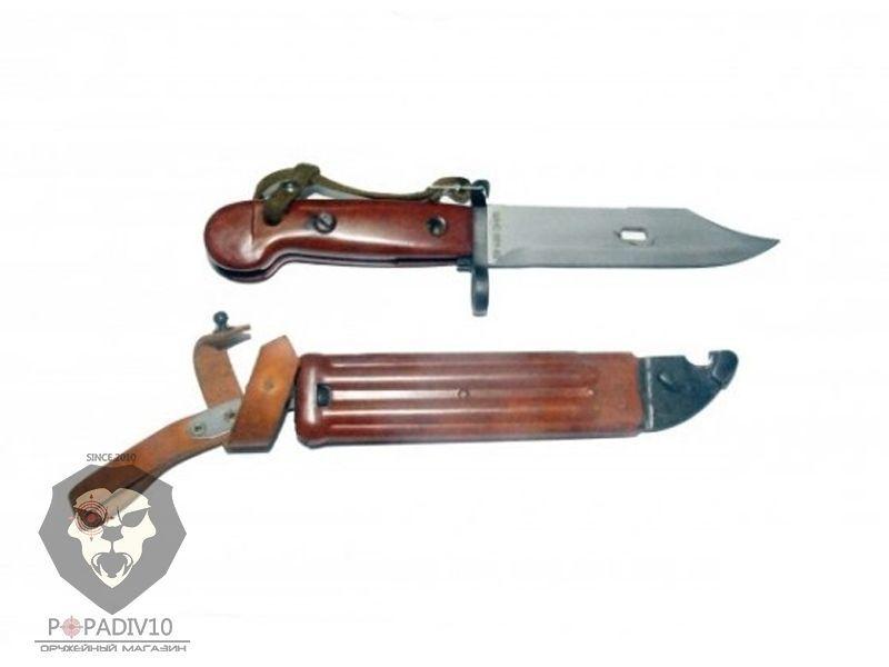 ММГ Штык-ножа АК ШНС-001-02 ( макет, переходной между АКМ и АК74, цельная коричневая рукоять бакелит, бакелитовые ножны , без пропила)