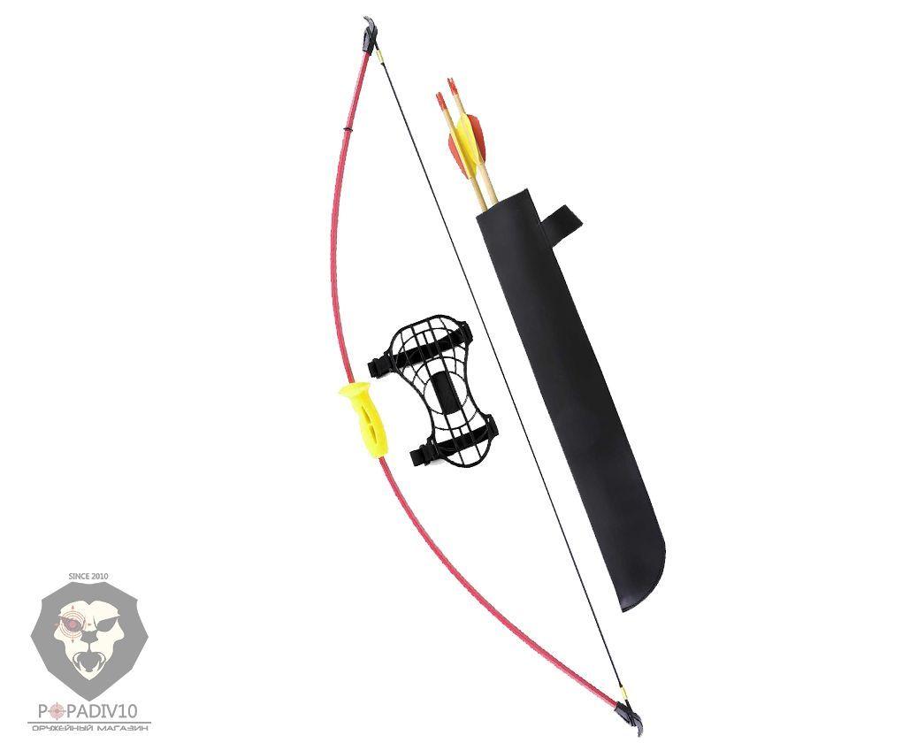 Лук детский классический красный 4,5кг, 93см (колчан, 2 стрелы, крага, мишень)