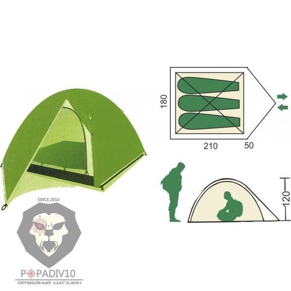 Палатка туристическая Remington 3-местная (210+50)*180*120, шт