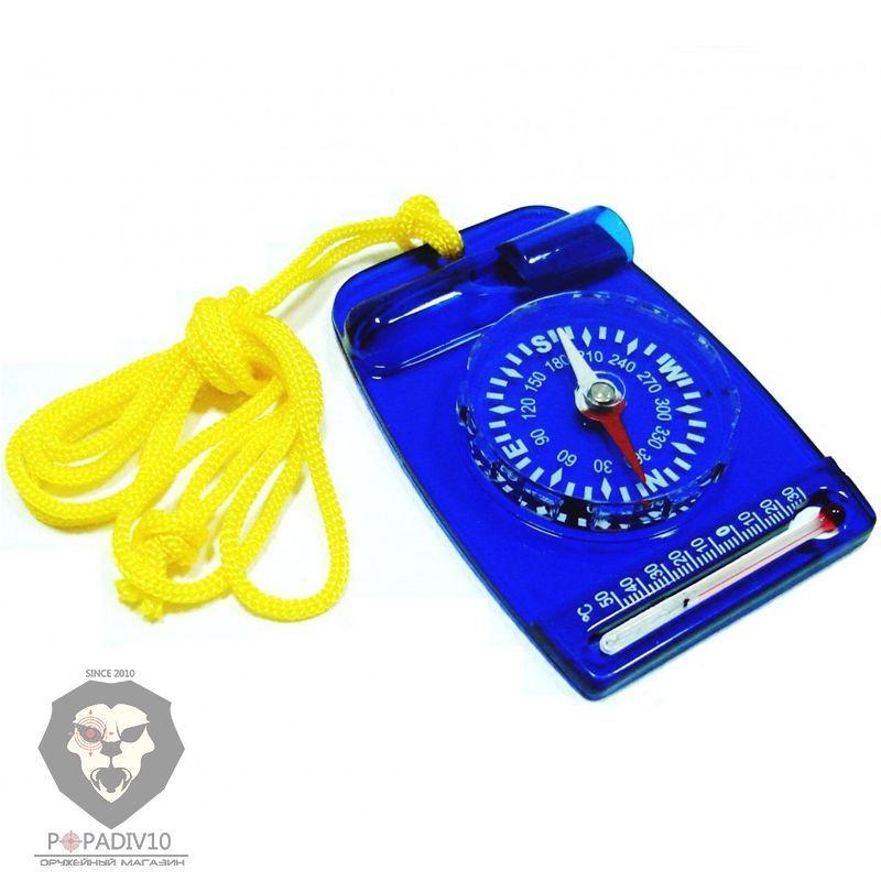 Компас ДС 35-2А, орг. стекло, шнур, термометр, черно-синий, шт