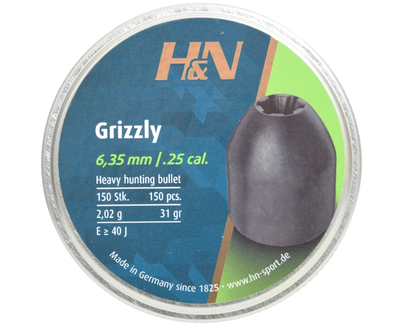 Пули пневматические H&N Grizzly 6.35 мм (150 шт, 2.02 г)