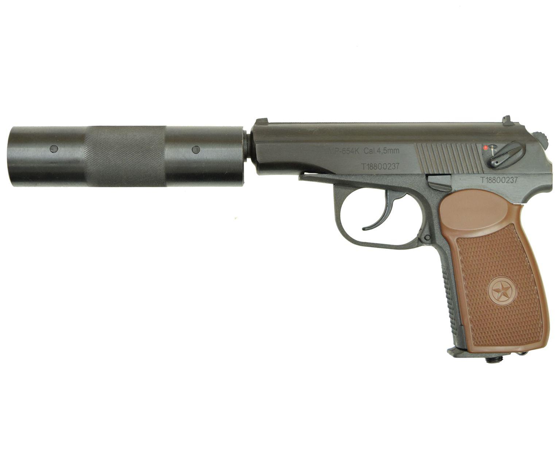 Пневматический пистолет мр 654к 22 с фальшглушителем (Байкал)
