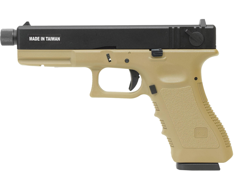 Страйкбольный пистолет KJW KP 18 Tan GBB (CO2, Glock 18, удлиненный ствол)