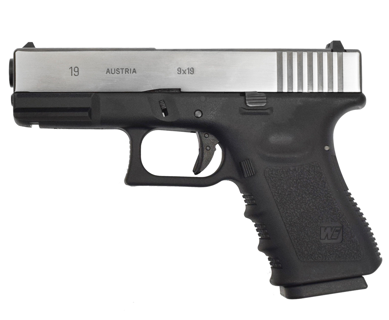 Страйкбольный пистолет WE Glock 19 Gen 3 (WE-G003A-BV, хромированный, 6 мм)