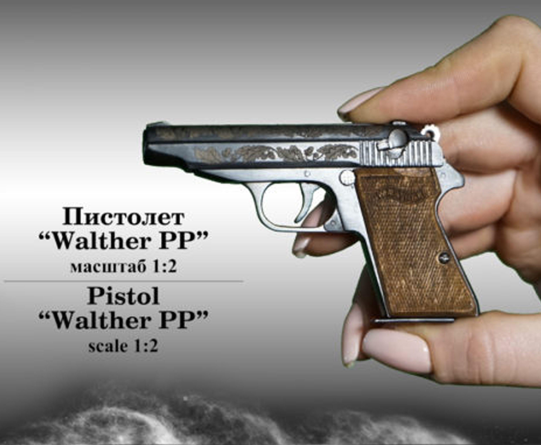 Миниатюрный стреляющий пистолет Walther PP (1:2)