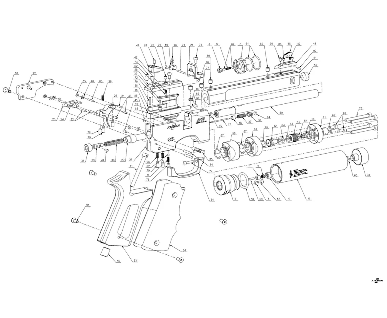 Пневматический пистолет Ataman AP16 511 W/D Compact (Wenge, 5.5 мм)