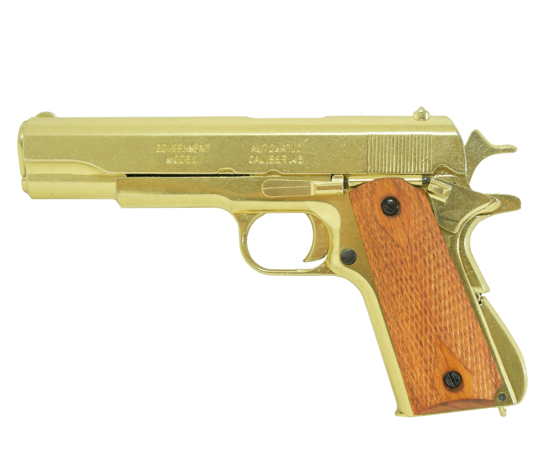 Макет пистолета Кольт M1911A1 США 1911 год (ММГ, золотой)