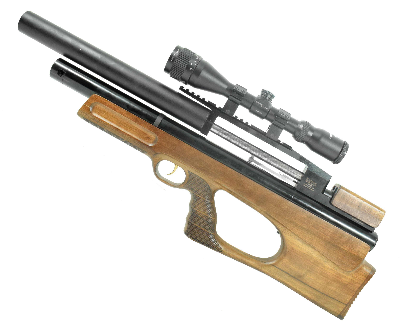 Пневматическая PCP винтовка Дубрава Лесник 450 мм BullPup (электрическая, 6.35 мм, орех)