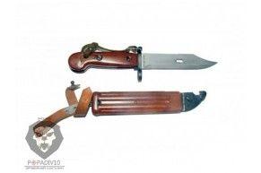 ММГ Штык-ножа АК ШНС-001-02 (переходной между АКМ и АК74), цельная коричневая рукоять бакелит, бакелитовые ножны , без пропила