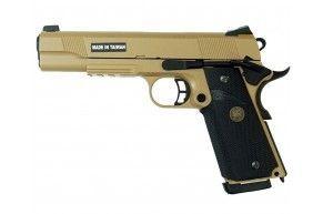 Страйкбольный пистолет KJW Colt 1911A1 M.E.U. Tan (Blowback)